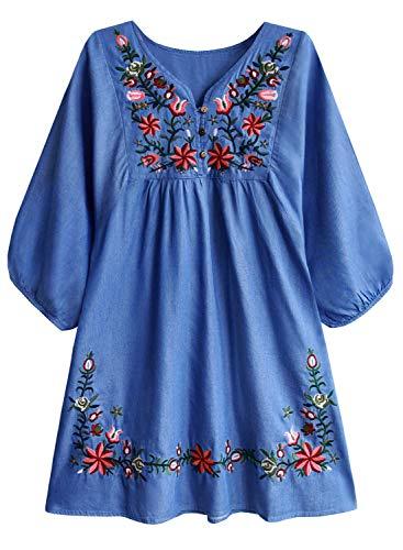 Doballa Damen Boho Tunika Hippie Kleid Gestickt Blumen Mexikanische Bluse, Denim, L (Frauen Der Denim-kleid)