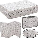 Reisebettmatratze 120x60cm +Tragetasche (100% BAUMWOLLE) für Baby Reisebett / Kinder Bett (Weiß mit hellgrauen Sternen)