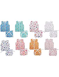 FARETO New Born Baby Gift Pack Jhabla With Diaper (Multicolor) Pack Of 16 (Size-L-12Inchs B-10Inchs)