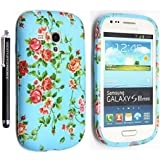 SAMSUNG GALAXY S3 MINI I8190 SILICONE SILIKON CASE SKIN GEL TPU Hülle COVER + STYLUS BY GSDSTYLEYOURMOBILE {TM} (Floral Roses Sky Blue)