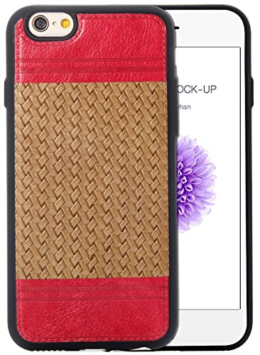Iphone 6S Coque,Iphone 6S Case,Iphone 6 Coque,Iphone 6 Case, Nnopbeclik® Lignes de tissage Style Backcover Doux Soft Silicone Antichoc Housse Coque Iphone 6S,Coque Iphone 6 (4.7 Pouces) Protection Ant rouge+marron