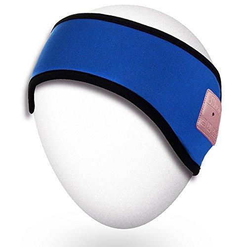 Rotibox- Bonnet Stereo Bluetooth - Bluetooth integrato Bonnet termica con auricolare stereo, microfono, a mano Kit libero, batteria ricaricabile - Compatibile con i telefoni cellulari, iPhone, iPad, PC, tablet, smartphone, i regali di Natale-Blu
