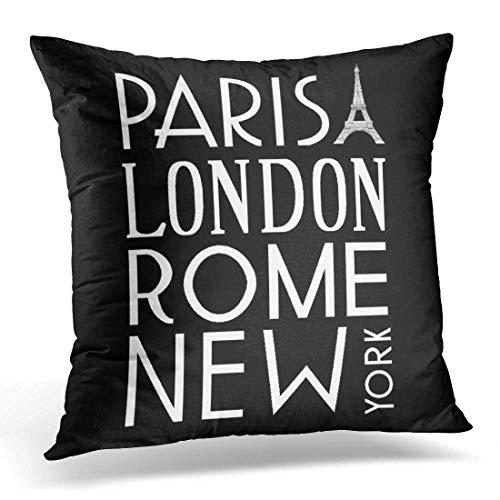 gatetop 18 x 18 Zoll Throw Pillow Cover Cases Vintage Akzent Paris London Rom und Neue französische dekorative Kissenbezug Home Decor Square Kissenbezug