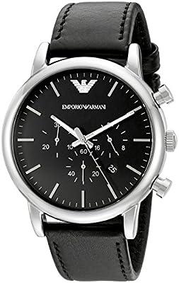 Emporio Armani AR1828de hombres Classic reloj de acero inoxidable con banda de cuero negro