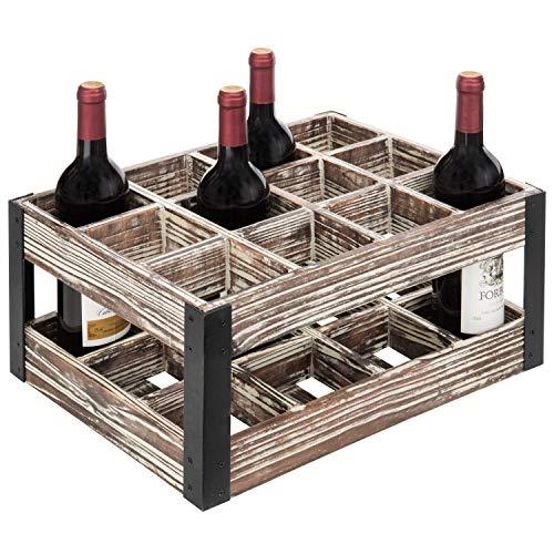 MyGift Rustikales Weinregal aus Metall und Holz, für 12 Flaschen -