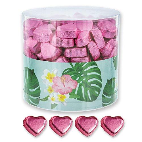 1 Box gefüllt mit 150 Schokolade Herzen, rosa | Monstera