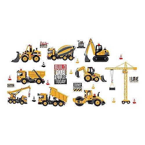 ufengke Vinilos Infantiles Construcción Vehículo Pegatinas Decorativas Pared Adhesivos Tractor Excavadora para...