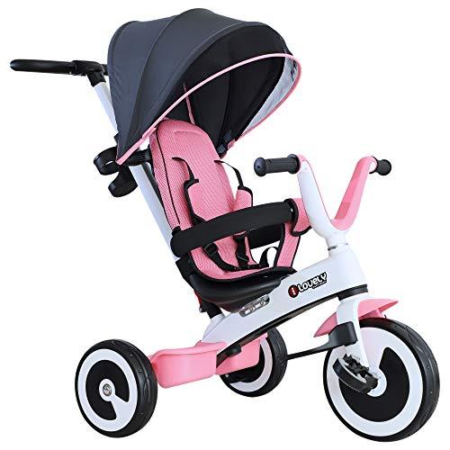 HOMCOM 4 in 1 Kinderdreirad Dreirad Kinder Fahrrad Rad Kinderwagen Schubstange Sonnendach Sicherheitsgurt ab 18 Monate rosa