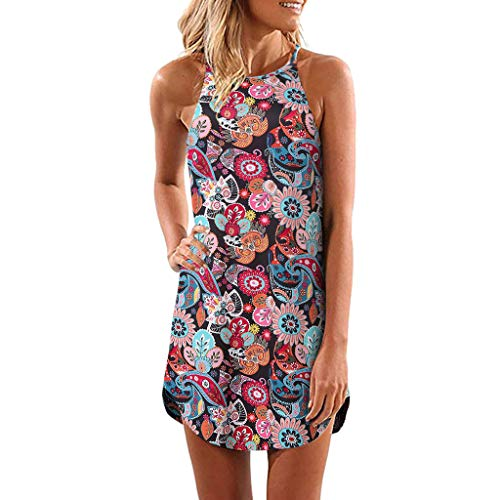 UINGKID Damen Beiläufiges Strandkleid Spitzenkleid Rückenfreies Kleider Sommerkleider Frauen-Sommer-beiläufiger ärmelloser Druck über dem Knie-Partykleid-Sommerkleid