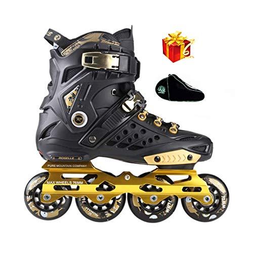 Sljj Erholung Im Freien Freestyle Speed Slalom Inline-Skates Für Männer Und Frauen Jugendlich Rollerblades Weiß, Schwarz Und Lila (Color : Black, Size : 44 EU)