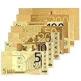 Xinzhi - 8PCS Banknoten 24K Gold überzog Euro 5 10 20 50 100 200 500Euro Dekoration hohe Qualität Antik überzogene Goldmünze gefälschtes Geld