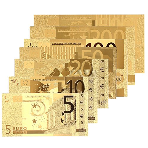 Leaftree 8 STÜCKE Banknoten Dekoration Hohe Qualität 5 10 20 50 100 200 500Euro 24 Karat Gold Überzogene Euro Antike Dekoration Gold