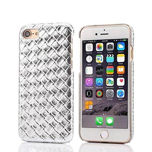 """iPhone 7 Plus Coque Dur Case Fine Mince Style Poids léger, Etui Apple iPhone 7 Plus 5.5"""", Élégant Imité Tissage Texture Anti Choc Housse de Protection pour iPhone 7 Plus Argent"""