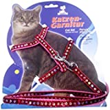 Pets Empire Fancy Glitter-Pattern Cat Harness Leash, Adjustable H Harness Nylon Strap Collar With Leash, Kitten Leash And Harness Set, For Small Cat And Pet 1 Set Color May Vary