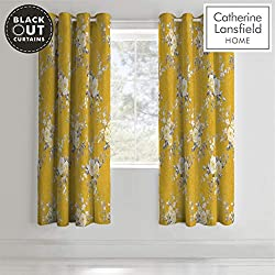 Catherine Lansfield Canterbury Black Out Eyelet Curtains Ochre 66x90Inch