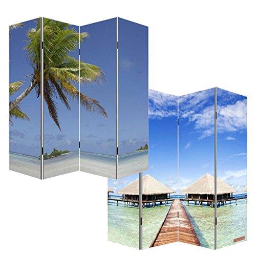 Mendler Foto-Paravent Paravent Raumteiler Trennwand M68~180x160cm, Strand