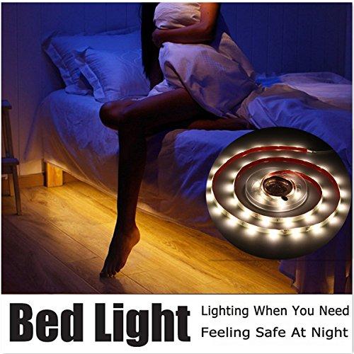 Sensor LED Streifen, GLISTENY Bewegung Aktiviert Bett Licht, 1.5M Flexible LED Streifenlicht, 30LED Auto Ein/Aus Bewegungsmelder Nachttischlampe mit automatischer Abschaltung Timer (Bewegungs-sensor-led-streifen)
