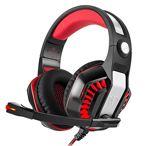 Auriculares Gaming iBeek Sonido Envolvente Estéreo Cascos Juegos con Micrófono Gaming Headset Cancelación de Ruido Profesional 3.5 mm Sobre-Oído Luz LED para PC PS4 Ordenador Portátiles (Rojo)