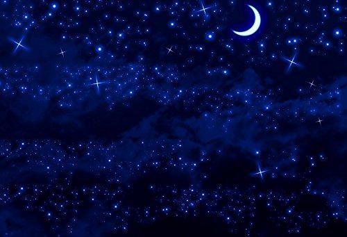 WaW 5x7ft Blau fotohintergrund Mädchen Fantasy Sternenhimmel Nachts Hintergründen Fotostudio Hintergrund fur Kinder -