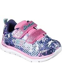 SKECHERS 82058N silver multi grigio rosa scarpe bambina strappi rosa glitter