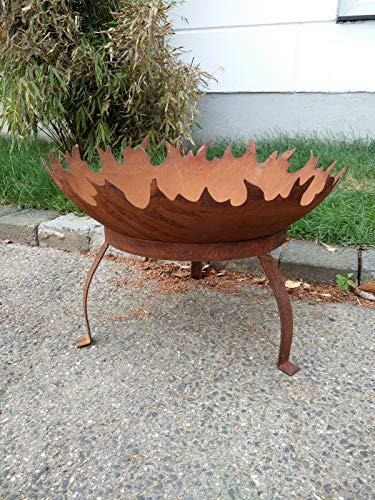 Zen Man Edelrost Garten Feuerschale Garten Schale mit Staender Pflanzenschale Rost Metall Gardendeko 50cm 1.8mm T=12.5cm Handarbeit