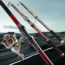 Bazaar caña de pescar telescópica de 2.4 m de fibra de carbono giro de la pesca de mano portátil de peces marinos trastos varillas