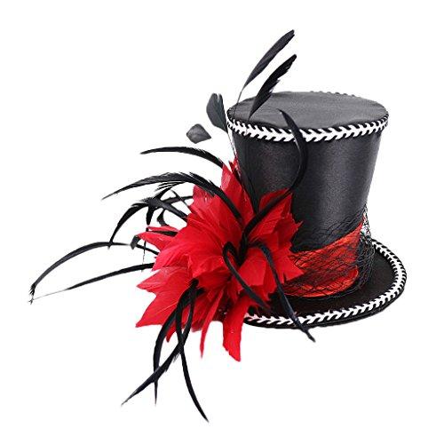 Gazechimp Vintage Fascinator Mini Zylinderhut Trachtenhut Minihut Hochzeit Frauen Damen Kostüm, Rot/Blau/Schwarz - Rot