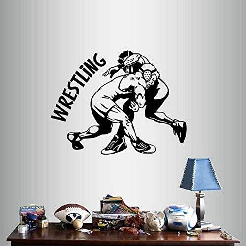 SLQUIET DIY Home Decor Art Sticker Silhouette Wrestling Match lottatori Sport Camera dei Ragazzi Rimovibile Elegante Murale Design Unico Adesivi Blu 54x42cm