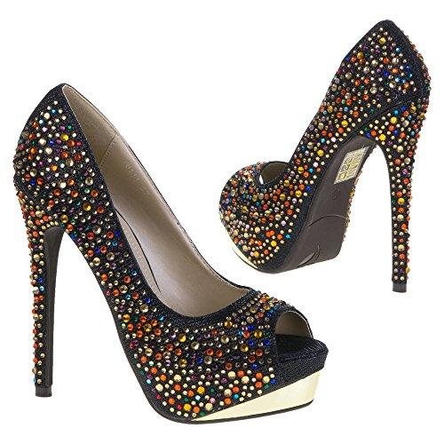 Ital-Design Damen Schuhe, 28111, PUMPS Schwarz 28111