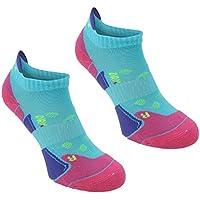 Karrimor 2 Pack Womens Running Trainer Ankle Socks Ladies Turquoise/Fusch 4-8