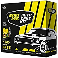 Motomax Auto Care kit for Bikes & Cars - Shampoo, Liquid Polish, Shiner (100ml each) with Buffing Cloth