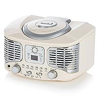 AKAI A60023C Retro Bluetooth CD Boombox with FM Radio - Cream