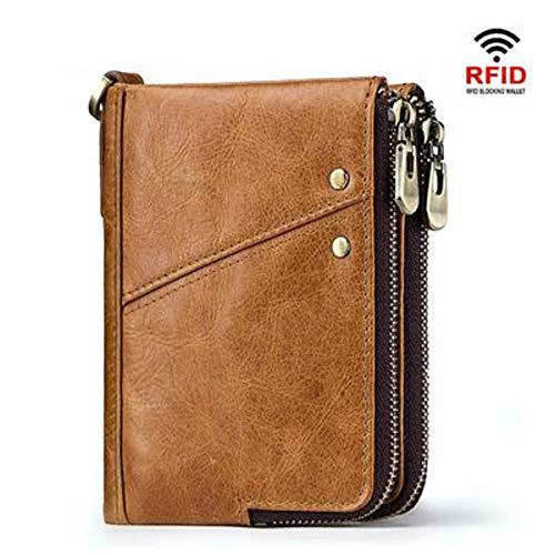 te RFID Echtleder Herren Brieftasche Multifunktions-Doppel-Reißverschluss vertikale Brieftasche Mode lässig Geldbörse (Khaki color, 10 × 2 × 13cm) ()