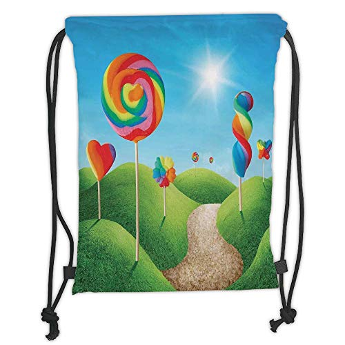 Trsdshorts Drawstring Backpacks Bags,Fantasy,Fantasy Candy Land with Delicious Lollipops and Sweets Sun Cheerful Fun Print Decorative,Green Blue Red Soft Satin,5 Liter Capacity,Adjustable STR