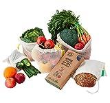 FullyFresh! Eco | 5er Set Obst- & Gemüsebeutel 100% Baumwolle (Bio) ungebleicht, wiederverwendbar | inkl. Brotbeutel & Kräuterguide | Gemüse- & Obstnetz...
