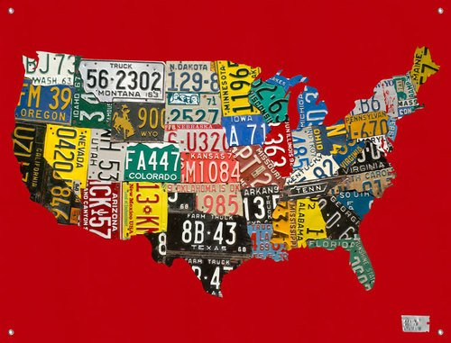 Oopsy Daisy Collage (Oopsy Daisy Leinwand 165,3 License Plate USA Map von Aaron Foster, 42 von 32)