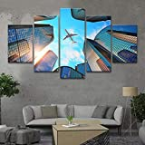 WENYAO 5 gemälde auf leinwand leinwand wandkunst leinwand malerei Poster Leinwandbild Stadt gebäude Flugzeug Blauer Himmel weiße Wolken landschaftsmalerei drucke Foto leinwand Kunst HD Print Home d