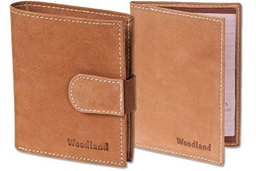 Woodland® - Super-Kompakte Geldbörse mit XXL-Kreditkartentaschen für 18 Karten aus naturbelassenem Büffelleder + KFZ-Scheinetui in Cognac, Beige (Geldbörse Beige Herren)