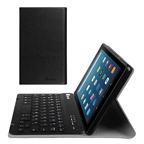Fintie Bluetooth Tastatur Hülle für Fire HD 8 (7. und 8. Generation - 2017 und 2018) - Ultradünn Ständer Schutzhülle mit magnetisch abnehmbar drahtloser Tastatur, Mandelblüten, Schwarz (Ipad-tablet Der 3. Generation)