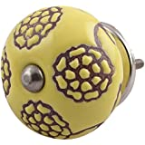 IndianShelf Handmade Ceramic Floral Furniture Knobs Etched Wardrobe Pulls Drawer Handles(Yellow, 1.5 Inches)-Pack of 2