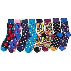 TRIWORIAE - Conjunto de 8 Pares Calcetines Colorido para Hombre de Algodón
