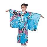 ACVIP Enfant Fille Kimono Japonais Peignoir Long Robe Déguisement Imprimé Fleur Paon Chic (recommandé le hauteur 120-130cm, Bleu)