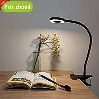 Lypumso Lampe de Bureau à LED, Lampe de Lecture, Lumière Froide/Chaude Réglable 2 Modes, Commutateur de Lumière Naturelle Pince, Flexible 360 Degrés Pour Apprendre, Lire, Travailler