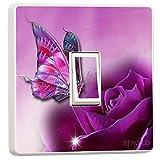 Lichtschalter-Sticker, Schmetterling, Vinyl-Skin, sw19, Violett
