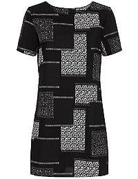 NL Noir Patchwork Robe tunique à manches courtes