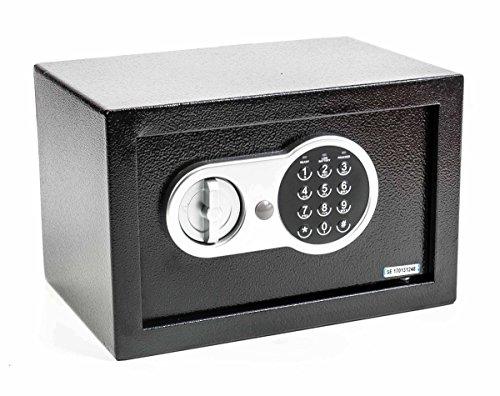 Möbeltresor, Digital Safe mit Zahlencode und Notschlüsseln, Wand- oder Bodenmontage, Stahl, schwarz