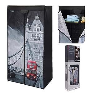 kleiderschrank faltschrank stoffschrank campingschrank von london nach new york amazon. Black Bedroom Furniture Sets. Home Design Ideas