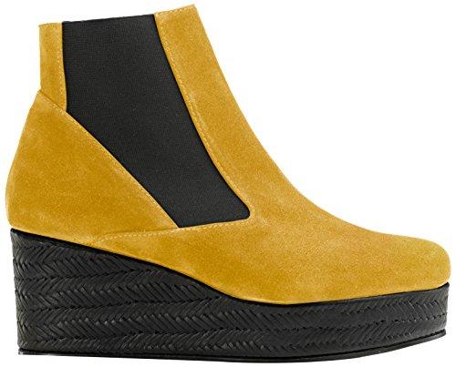 Castañer - FABIANNE / suede vacchetta trenza, Stivaletti da Donna, Multicolore(Mustard/Black), 40