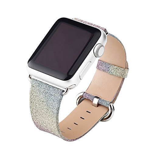 Cuitan Armband für 38mm Apple Watch, Luxus Regenbogen Bling Glitzer PU Leder Uhrenarmband mit Edelstahl Adapter Shiny Glitter Replacement Uhrband Watchband Wristband Watch Band Strap für 38mm Apple Watch/Sport/Edition - Regenbogen Muster (White Vintage Nylon)