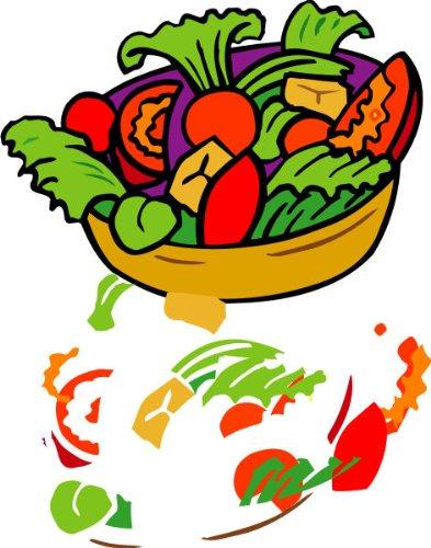 T-Shirt E149 Schönes T-Shirt mit farbigem Brustaufdruck - Logo / Grafik - großer bunter Salatteller Schwarz
